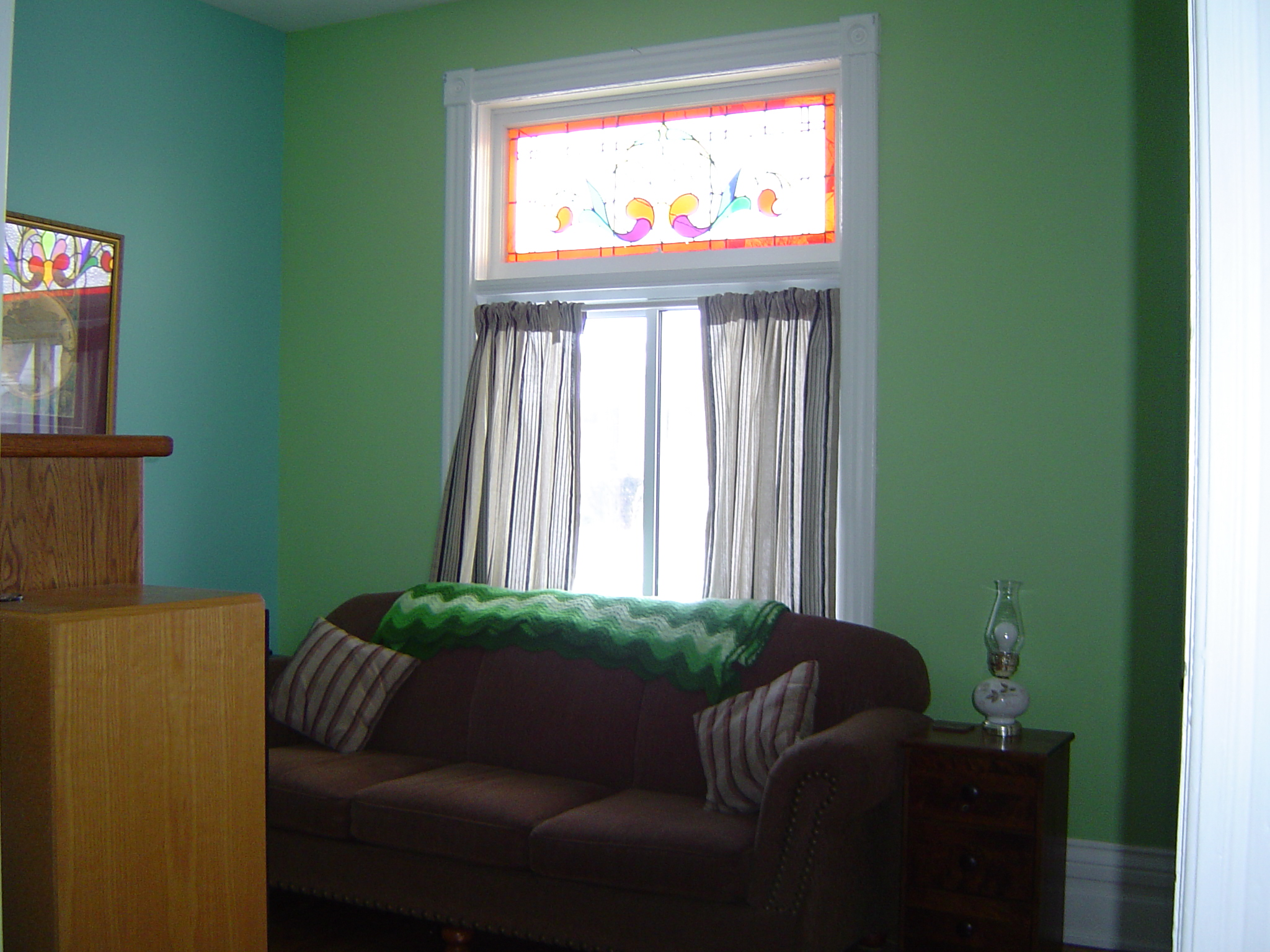 Sunny stained glass window in the living room