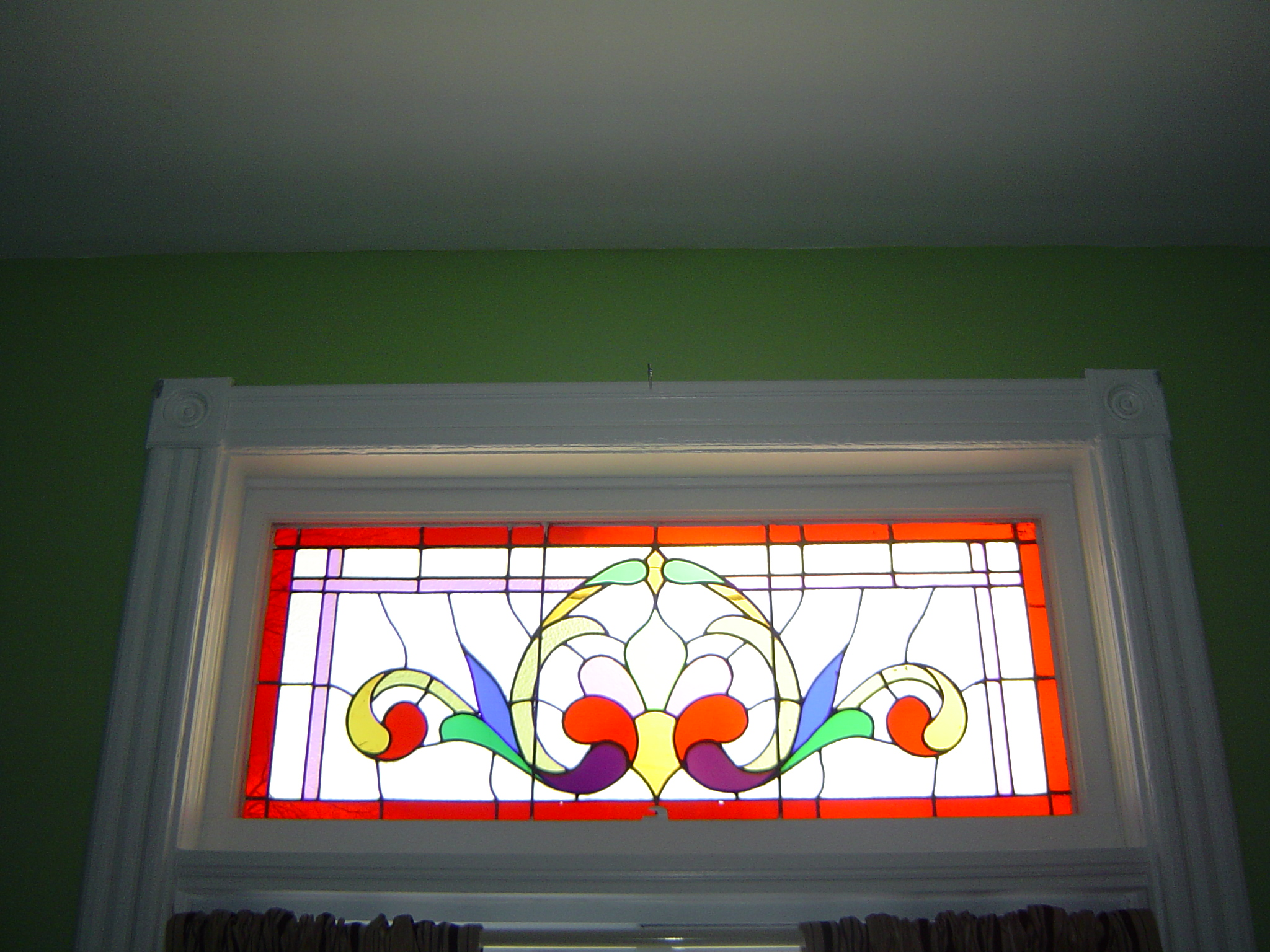 Close up of the stained glass window in living room