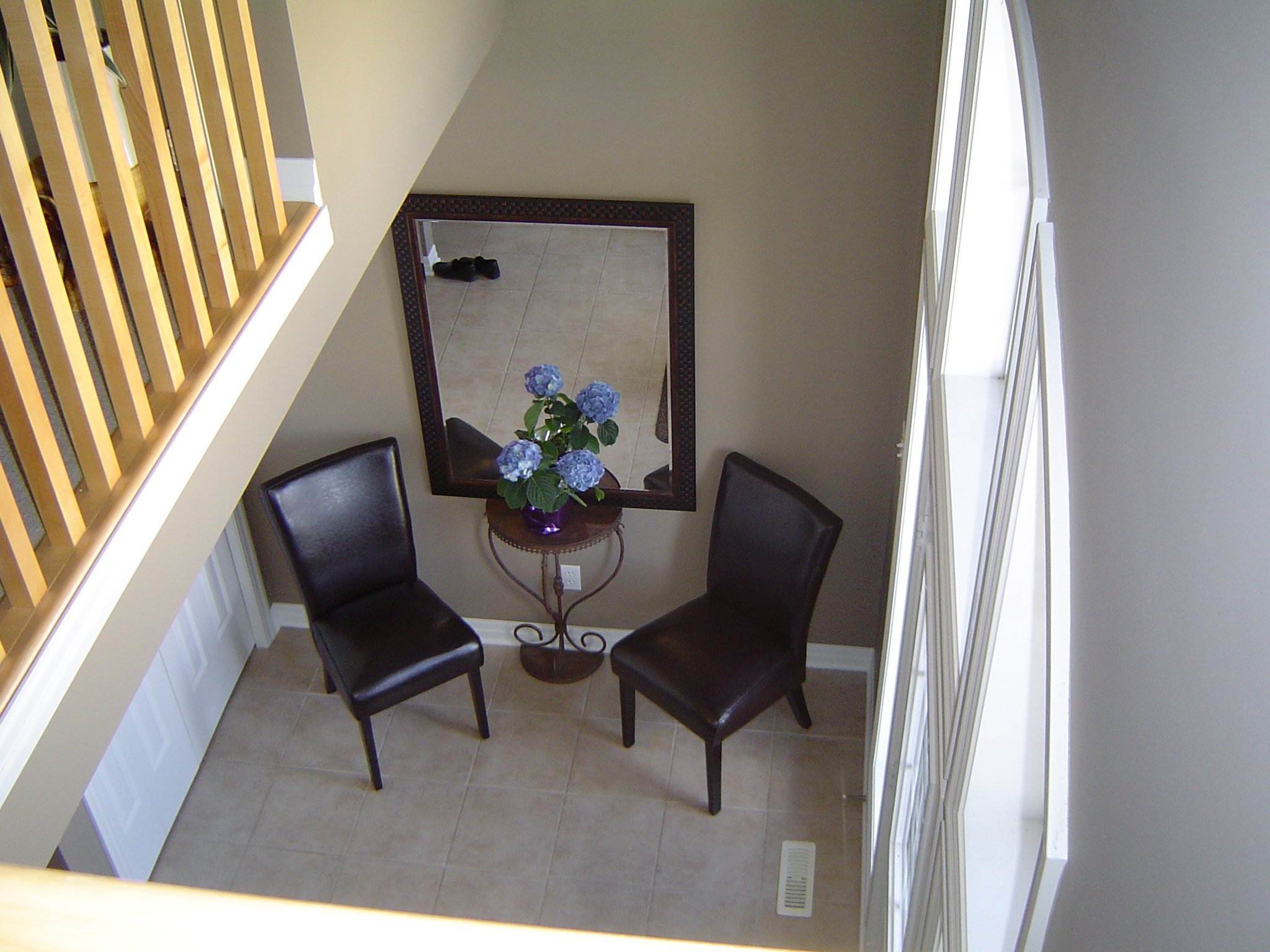 View of front foyer from family room