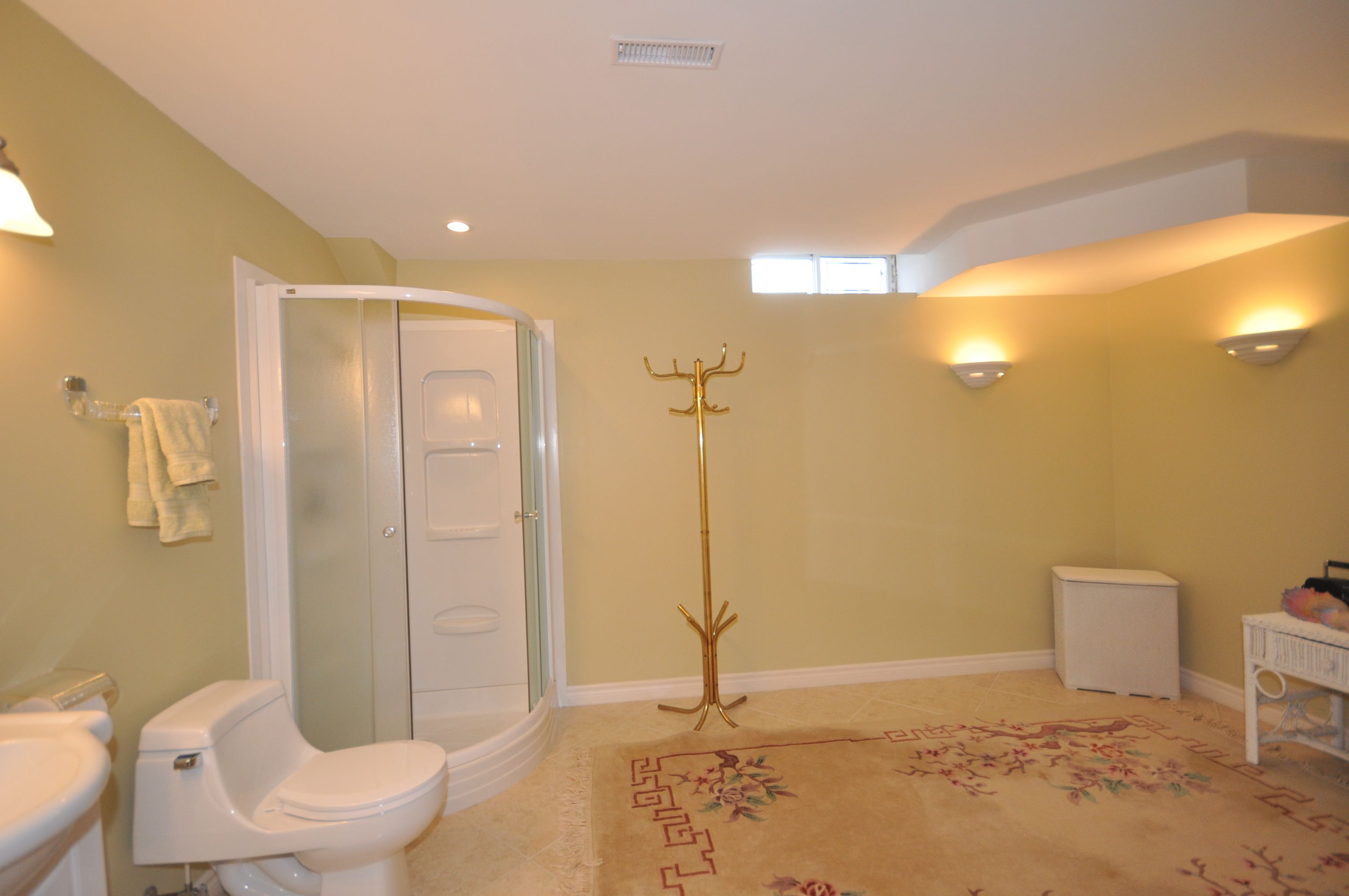 Large full bath with room for future whirlpool corner tub