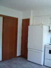 Pocket doors seperate the kitchen from the living & dining rooms