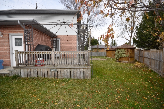 Large backyard complete with privacy fence, summer sundeck and metal sunshade and cover included