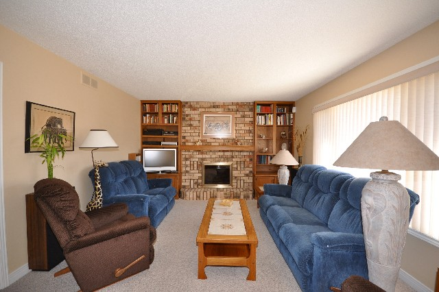 Bright comfortable family room with built-in bookshelves & gas fireplace