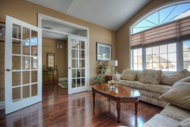 Formal Living Room with French Doors from Entryway