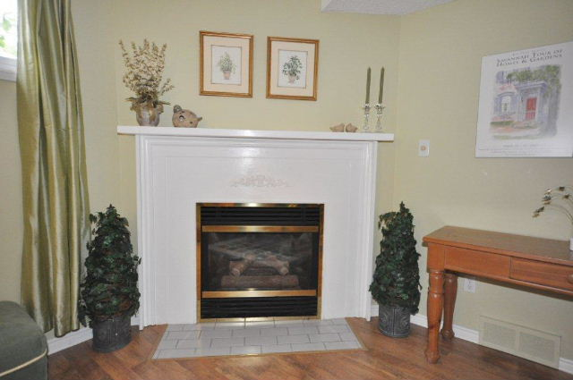 Corner gas fireplace in family room