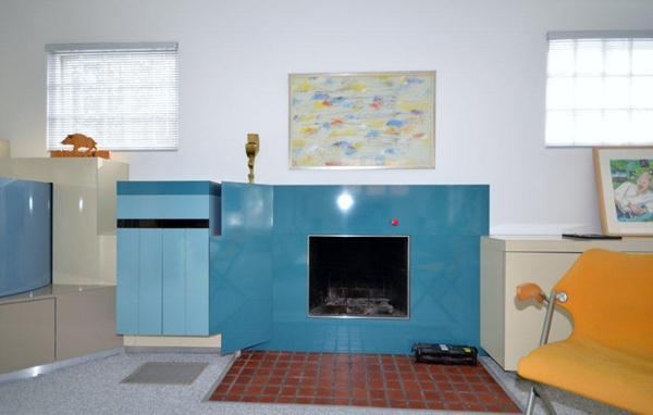 Close up of Gas Fireplace in Living Room and built ins