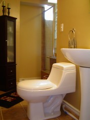 Updated 3 piece bath in lower has a wonderful oversized glass block shower and ceramic flooring