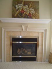 Custom stucco corner gas fire place also visible from kitchen and eating area