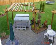 Large patio area with pergola for all your entertaining needs