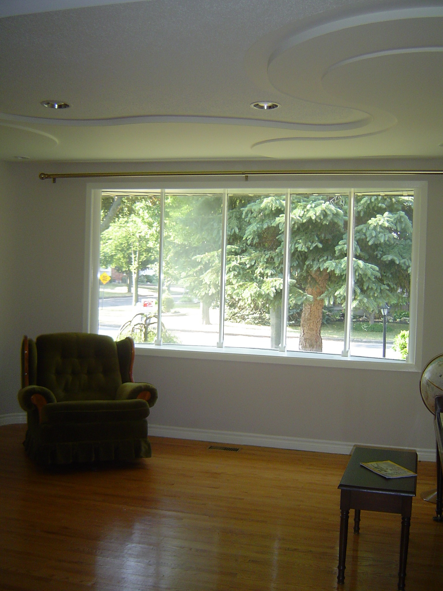 Living room with large sunny window